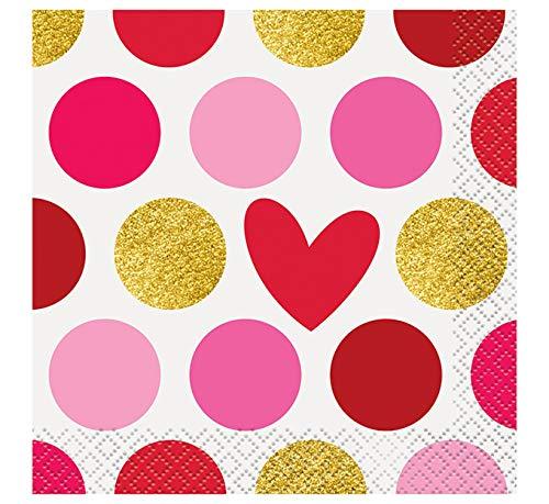Gold Happy Valentine's Day Beverage Napkins, 16ct