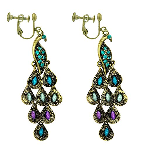 (Gold Tone Vintage Peacock Blue Epoxy Crystal Feather Dangle Statement Clip on Earrings Drop Women 2.25