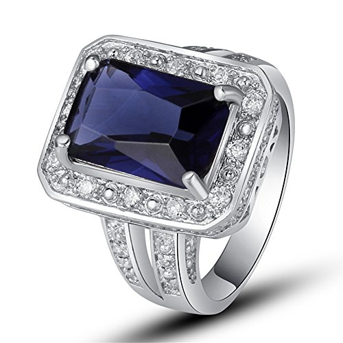 (Empsoul 925 Sterling Silver Natural Novelty Filled 6ct Sapphire Quartz Halo Engagement Ring)