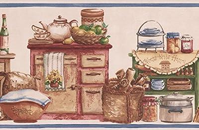 Vintage Kitchen Wooden Chests Food Jars Baskets Bowls Country Wallpaper Border Retro Design, Roll 15' x 7''