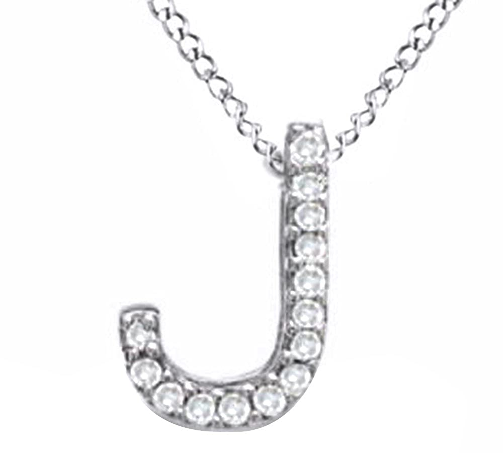 112189c653edeb Amazon.com: Natural Diamond Accent Initial Letter J Pendant Necklace in 14k  Rose Gold Over Sterling Silver: Jewelry