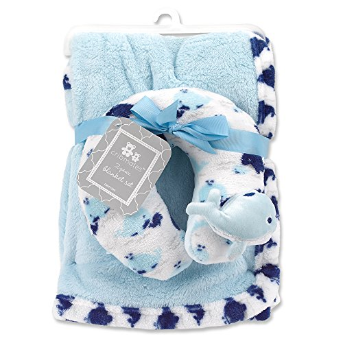 Cribmates Blanket with Neck Support, Navy/White Whale