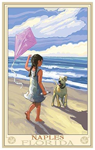 Naples Florida Girl Dog Beach Travel Art Print Poster by Joanne Kollman (12