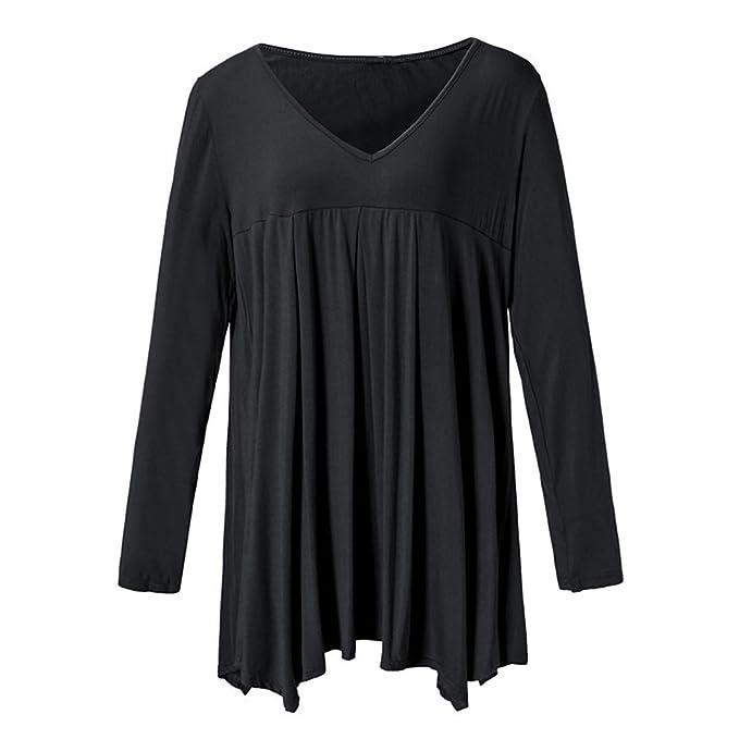 Mujer Camisetas Manga Larga V Cuello Anchas Blusa Elegantes Basicas Color Sólido Fiesta Estilo Casual con