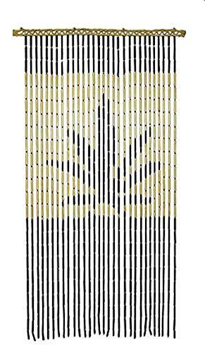 Hemp Leaf Bamboo Beaded Door Curtain - 3'x6'