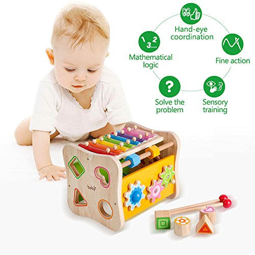Life&Fun Kids Initiation Musical Toy Wooden 3 in 1 Multifunctional Music Toys Pound & Tap Xylophone Color&Tones Colorful Keys with Mallets by Life&Fun (Image #6)