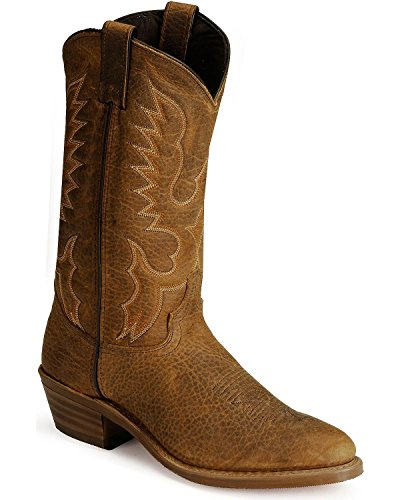 Abilene Men's Bison Leather Cowboy Boot Medium Toe Tan 9.5 D(M) US
