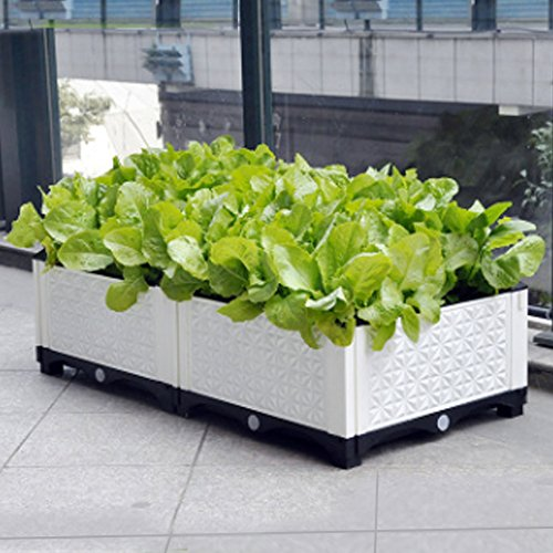 VeraCasa Vegetable and Flower Garden Bed w/Drainer - By I Weather-Resistant Safe Plastic Indoor & Outdoor Gardening Planter Box for Patio/Deck (Black & White)