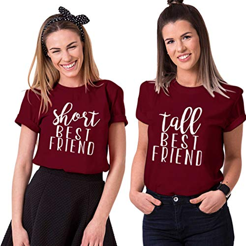 Funny Short Tall Tee BFF Matching Shirts Best Friends Women Partner Friendship Top (Short-L+Tall-M, Red+Red)
