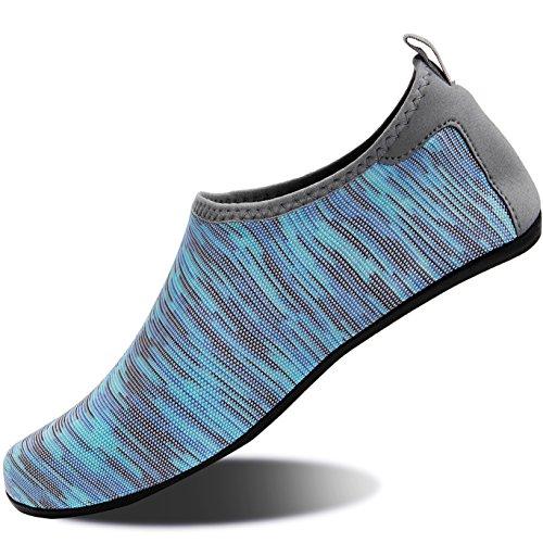 NING MENG Aqua Socks Beach Water Shoes Barefoot Yoga Socks Quick-Dry Surf Swim Shoes for Women Men (Light Blue, 38/39EU)