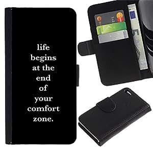A-type (Comfort Zone Life Motivational Poster) Colorida Impresión Funda Cuero Monedero Caja Bolsa Cubierta Caja Piel Card Slots Para Apple Iphone 4 / 4S