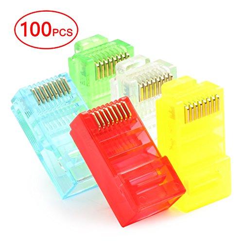 (Postta RJ45 CAT5 CAT5E CAT6 Connector 8P8C UTP Gold Plated Ethernet Crystal Head 5 Colors 100 Pieces)