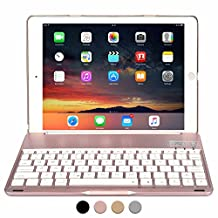 iPad 9.7 2017 / iPad Air 1 Keyboard case, COOPER NOTEKEE F8S Backlit LED Bluetooth Wireless Rechargeable Keyboard Portable Laptop Macbook Clamshell Clamcase Cover with 7 Backlight Colors (Rose Gold)