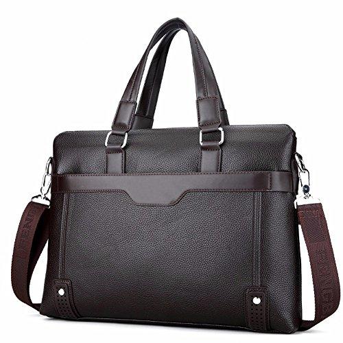 Surnoy Men 's single Shoulder Bag, 36-55l Leather business briefcase, seccion transversal Satchel handbag, negro, marron,Black Brown