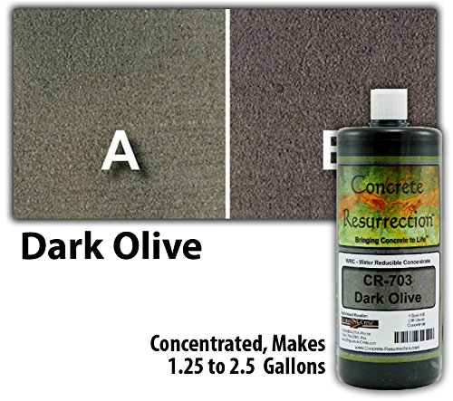 Concrete Stain Concentrate Just Add Water, User & Eco-Friendly Semi-Transparent Professional Grade Cement Stain, Concrete Resurrection Brand (32 ounce, Dark Olive) by Concrete Resurrection