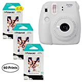 Fujifilm Instax Mini 9 Instant Camera (Smokey White), 3x Twin Pack Instant Film (60 Sheets) Bundle