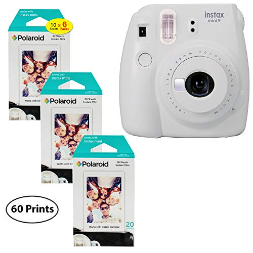 9 Instant Camera (Smokey White), 3x Twin Pack Instant Film (60 Sheets) Bundle ()