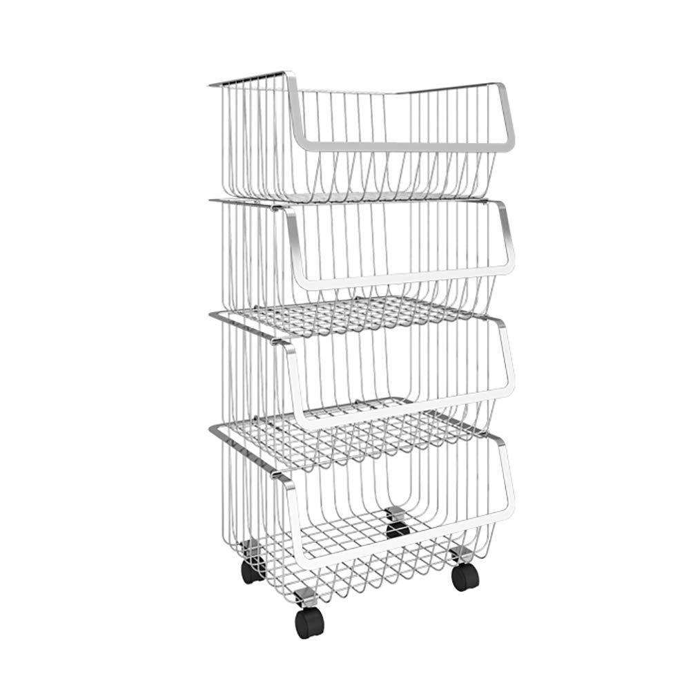 Kitchen Cart, Stainless Steel Kitchen Vegetable Rack, Fruit and Vegetable Storage Basket Household Large Capacity with Wheels, Multi-Purpose Use