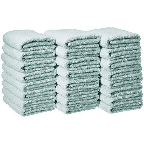 (AmazonBasics Cotton Hand Towel - 24-Pack, Ice Blue)