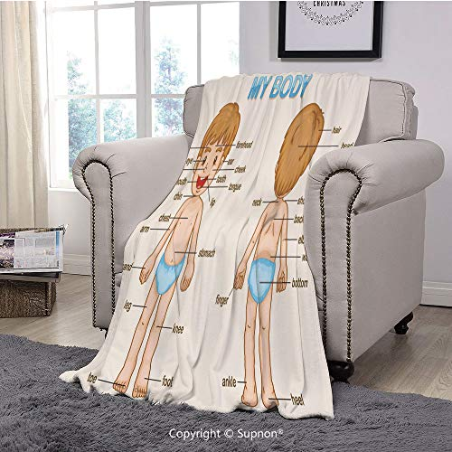 Premium Throw Blanket/Super Soft,Cozy,Lightweight Microfiber,Educational,Illustration of The Parts of The Body Names on Cute Cartoon Kid Boy,Pale Blue Pale Brown(71