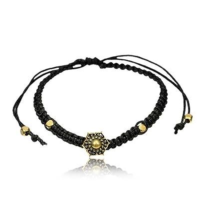 Armband Faden verstellbar schwarz Messing Buttons antik golden Motive    Blume Baum des Lebens   Om Symbol   geknüpft in Handarbeit   Unisex  Armbänder  ... 728bef625a