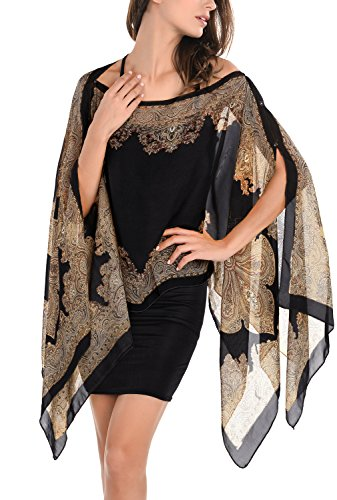 Paisley Top Print - DJT Womens Paisley Print Chiffon Beachwear Poncho Bikini Cover Up Top Medium Black