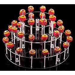 YestBuy Round 3 Tier Round Acrylic Cake Pop Stand(9 Rods)