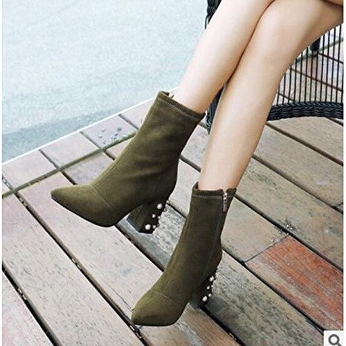 Boots Green HSXZ Comfort Toe Closed Gray Toe Boots for Camel Black Ankle Women's Casual Booties Chunky Camel PU Winter Shoes Heel Pointed ZHZNVX HdqZxFgZ