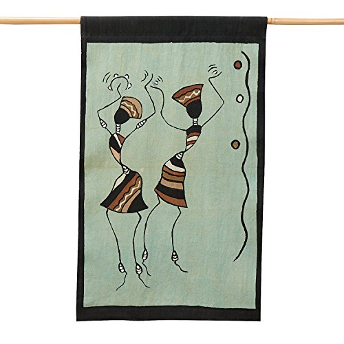 Olive And Brown Mud Cloth Cotton Wall Hanging 17''x28'' 'African Dance Wall Hanging' by Ten Thousand Villages