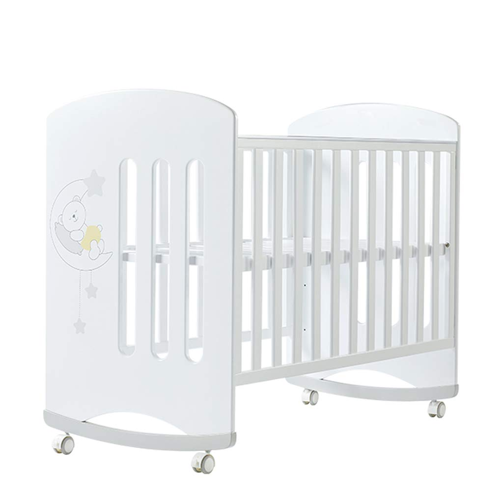 Crib Baby Cot European Style Multifunction Splicing Bed Solid Wood Cradle Bed (Color : White, Size : 12465115cm)