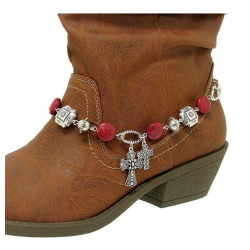 Boot Chain ~ Boot Bracelet ~ Red Beads W Cross Charms Boot Charm Anklet (Boot Chains HBA1015 (Chain Eternity Bracelet)