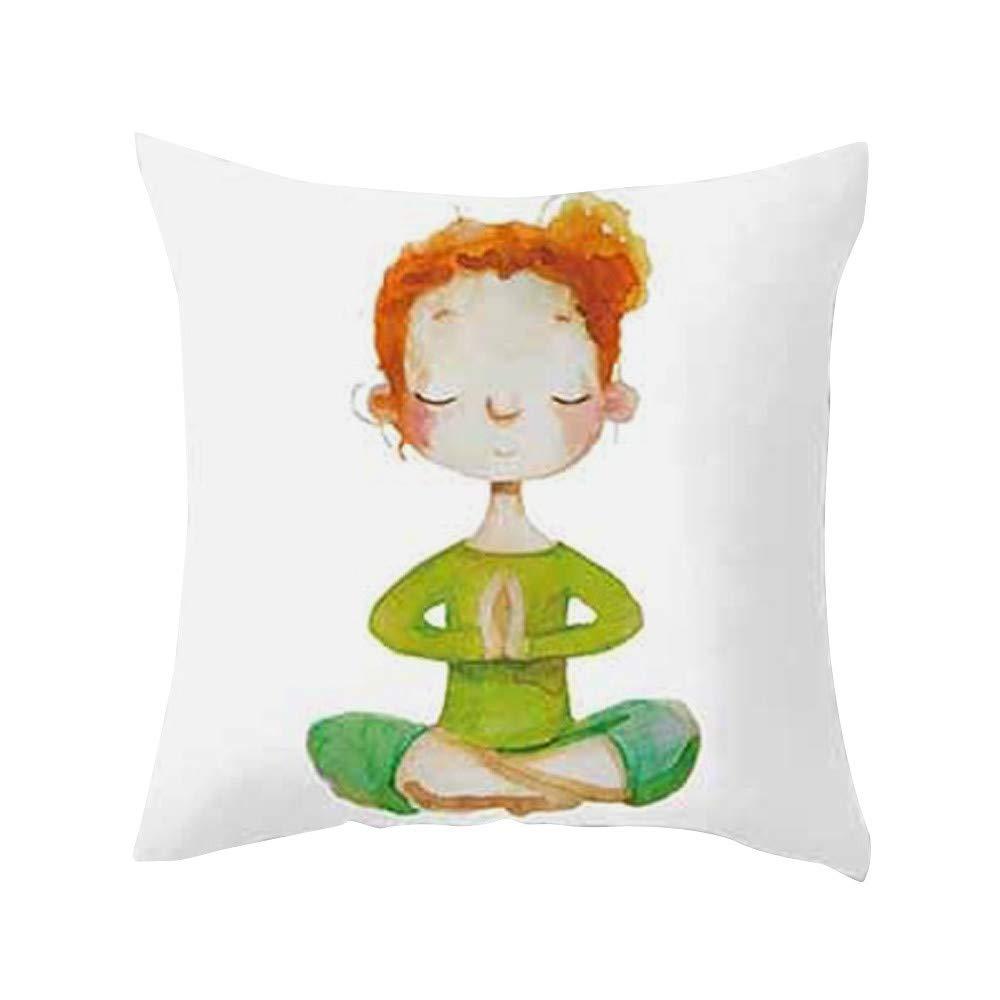 Longra ☂☂ ☂☂ ☂☂❤️❤️ Almohada del Respaldo del Amortiguador de la Cintura, Serie Impresa meditación de la Yoga Funda de Almohada