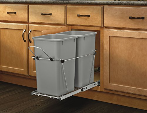 Rev-A-Shelf - RV-15KD-17C S - Double 27 Qt. Pull-Out Silver and Chrome Waste Container - 2 Shelf Metallic Cabinet