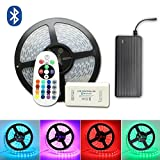 Bluetooth 10ft 20ft 30ft 50ft 80ft 100ft 12V 60LEDs/M RGB SMD 5050 LED Strip Light Flexible Waterproof IP65 Outdoor with Remote&Controller and Power Supply (50)
