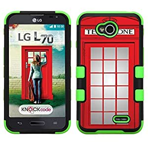 One Tough Shield ? Hybrid 3-Layer Phone Case (Black/Green) for LG Optimus L70, also fit Verizon LG Optimus Exceed 2 - (Phone Booth Red) by lolosakes