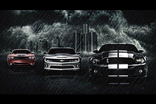 Chevrolet Camaro Ford Mustang Cobra Dodge Challenger SRT Cars Poster 20x30