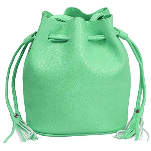 BMC Womens Creamy Mint Textured Faux Leather Drawstring Style Cinch Sack Mini Fashion Handbag Image