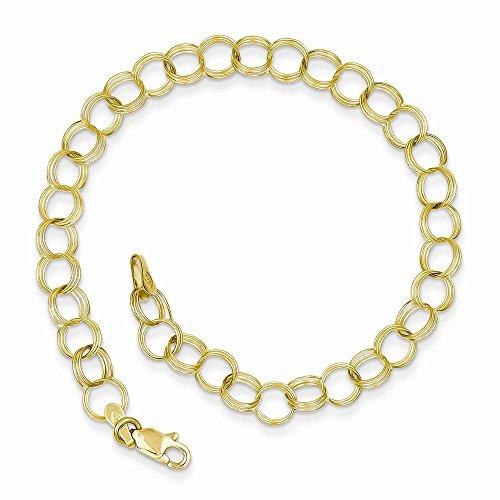 10k Yellow Gold Triple Link Charm Bracelet 8 Inch 10k Link Charm Bracelet