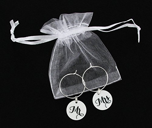 TJ Formal Wine Charms Wedding Gift - Mr. and Mrs. Set - Rings Hoops Tags Shower Favors by TJ Formal (Image #3)