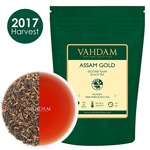 2017 Harvest Assam Gold Second Flush 100% Pure Unblended Black Tea Loose Leaf Sourced Direct from Assam in India 50 Cups 3.53oz