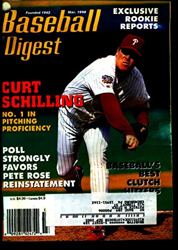 BASEBALL DIGEST MARCH 1998 CURT SCHILLING PHILLIES EX Curt Schilling Phillies