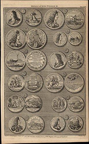 12 diff. rare Medals King William III 1747 British Numismatic Medal rare print
