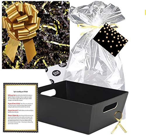 Gift Basket Making Kit Do It Yourself DIY Build Your Own Gift Basket Matching Supplies Market Tray Basket Cellophane Bag Shredded Crinkle Paper Ribbon Pull Bow (Black and Gold, X-Large)