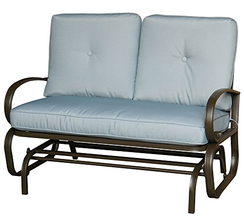 - Kozyard Cozy Two Rocking Love Seats Glider Swing Bench/Rocker For Patio, Yard with Soft Cushion and Sturdy Frame (Blue)
