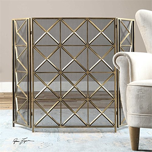 Ambient Hand Forged Metal Finished In A Heavily Burnished Silver Champagne Fireplace Screens
