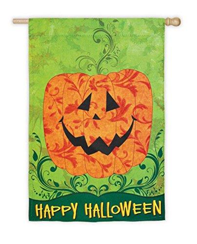 Evergreen Happy Halloween Whimsy Jack-O-Lantern Decorative Garden Flag 43
