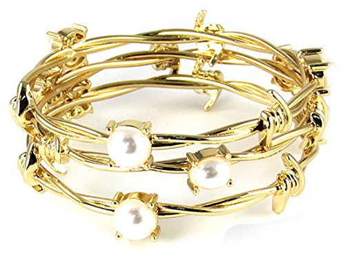4031432 Set of 3 Twisted Barb Wire Bangle Bracelet Barbed Gold Tone Fashion