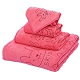Hilltop Cotton 4 Piece Bath Toewel Set,1 Bath Towel 55x27inch,2 Wash Cloths adult:29x13inch and child:19x9inch,1 Hand Towel 9x9inch (Watermelon red)