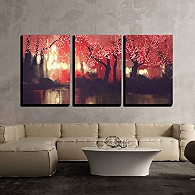 Gorgeous Expert Craftsmanship, Night Scene of Autumn Forest Fantasy Landscape Painting x3 Panels, With a Professional Touch