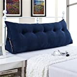 VERCART Sofa Bed Large Filled Triangular Wedge Cushion Bed Backrest Positioning Support Pillow Reading Pillow for Daybed Office Lumbar Pad with Removable Cover Deep Blue King